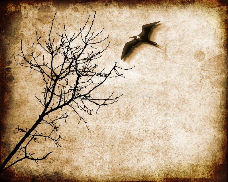 Tree and flying bird royalty free illustration