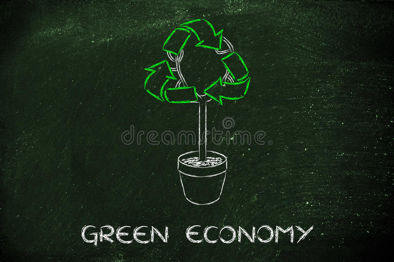 Tree with foliage in shape of recycle symbol stock photos