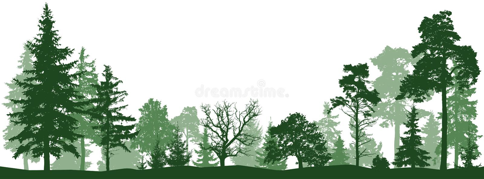 Tree forest vector silhouette. Isolated set stock photo