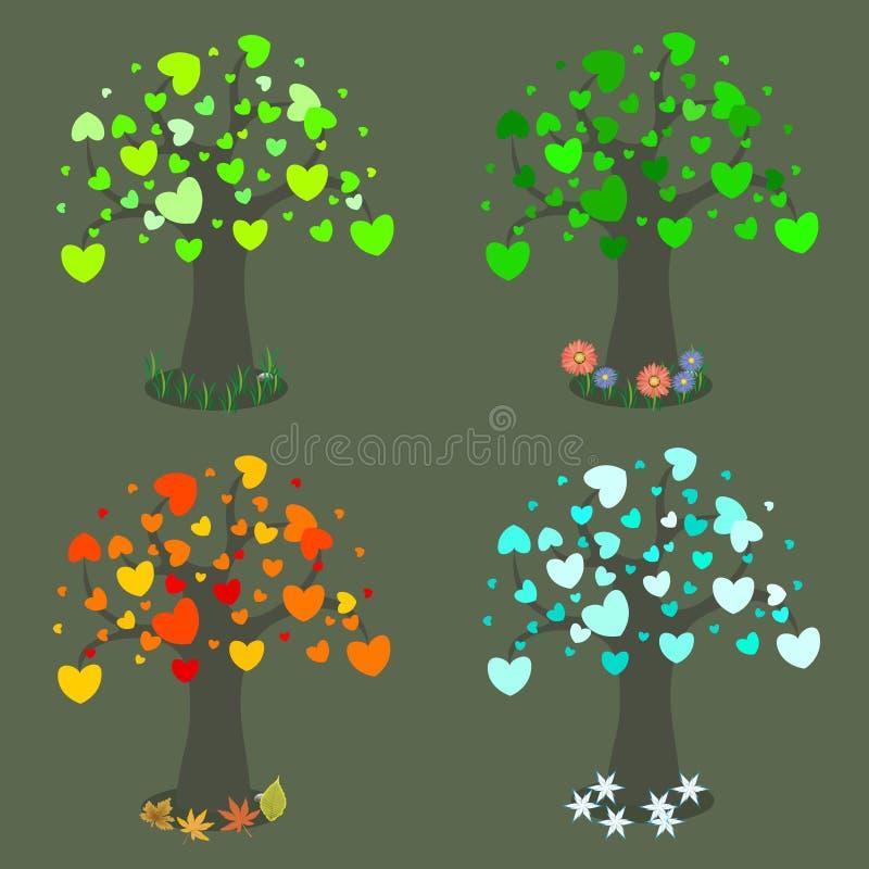 Tree in four seasons stock illustration