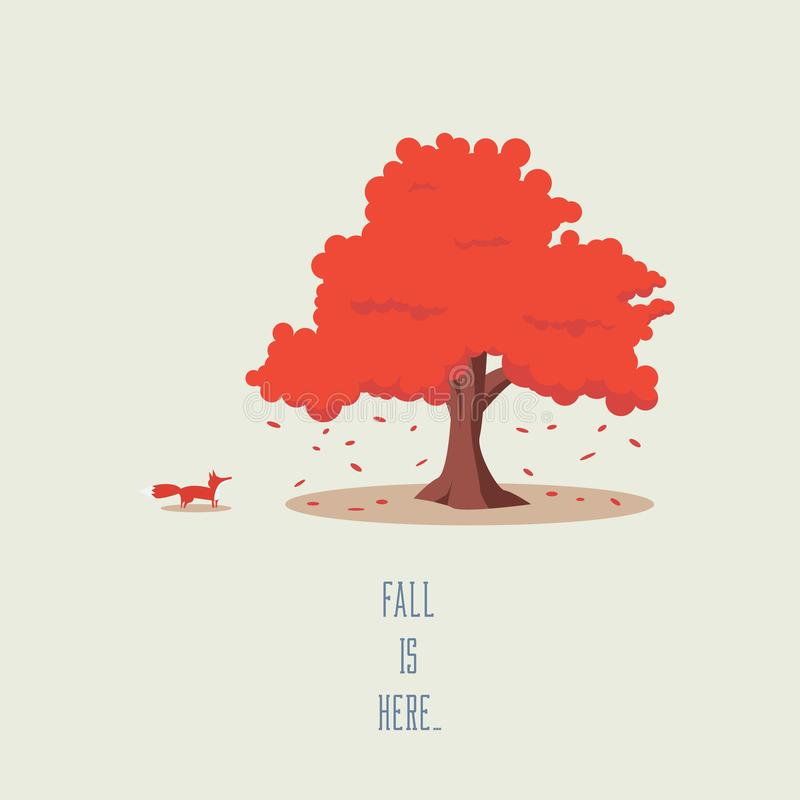 Tree and fox in fall or autumn vector landscape. Seasonal symbol with leaves falling, beautiful cartoon artwork. Eps10 vector illustration stock illustration