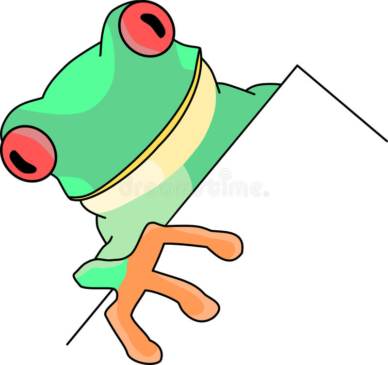 Tree frog. On a blank billboard royalty free illustration