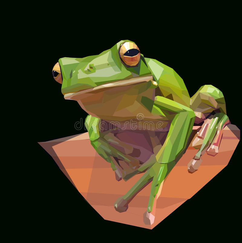 Tree Frog. Green tree frog climbs branch on dark background royalty free illustration