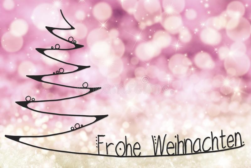 Tree, Frohe Weihnachten Means Merry Christmas, Light Purple Background royalty free illustration