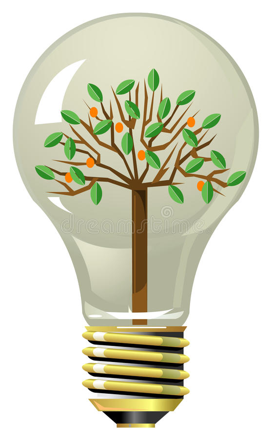 Download Tree With Fruits And Leaves Inside Lightning Bulb Stock Photo - Image: 12868530
