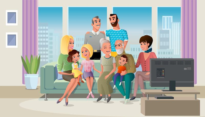 Senior Couple Spending Time with Children Vector. Tree Generations of Big Family Gathered at Home, Spending Time Together while Sitting at Sofa in Living Room stock illustration