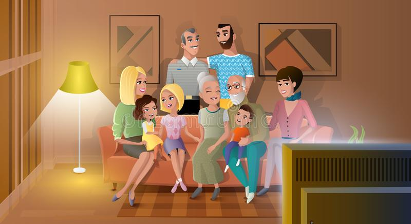 Big Family Spending Evening Time Together Vector. Tree Generations of Big Family Gathered at Home, Spending Time Together, Watching Evening TV Show while Sitting vector illustration