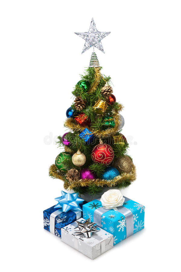 Tree&gift boxes-14 de la Navidad fotografía de archivo
