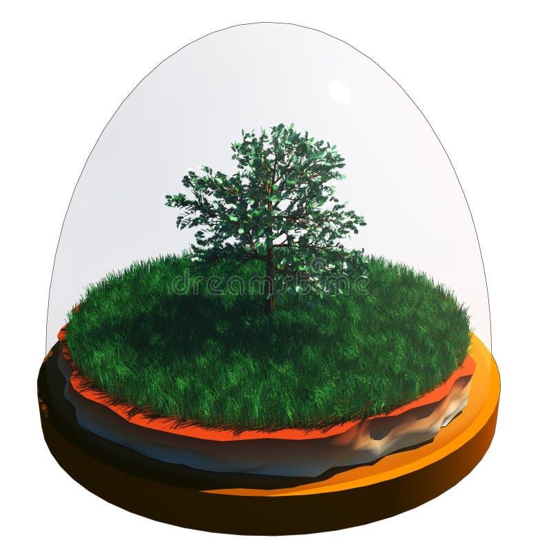 tree in glass ball vector illustration