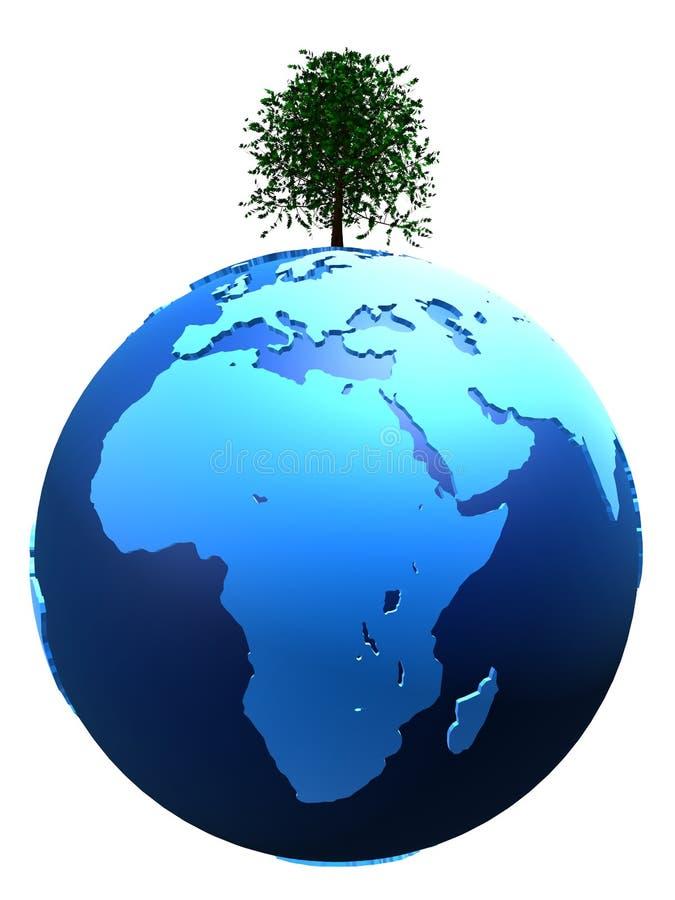 Tree on globe stock illustration