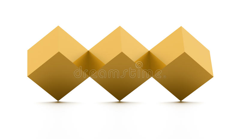 Tree gold cubes rendered isolated. On white background stock illustration