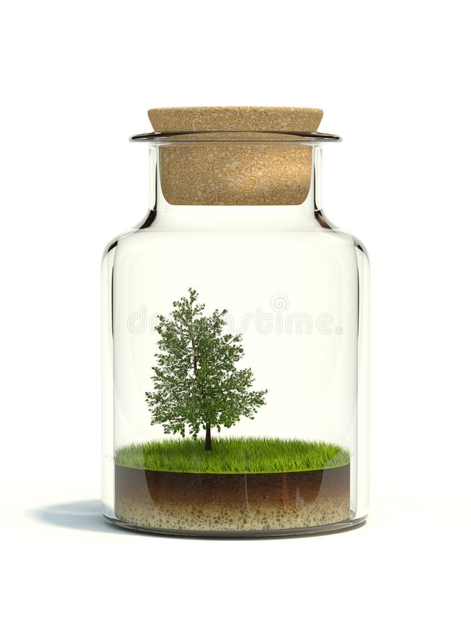 Download Tree On Grass In The Bottle Stock Illustration - Image: 17049735