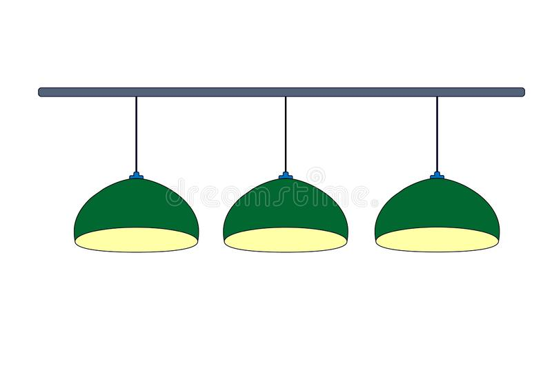 Tree green billiard lamp close up with yellow light. Row green hanging 3 lamps billiard for lighting of pool table.  Isolated on. White background. Vector royalty free illustration