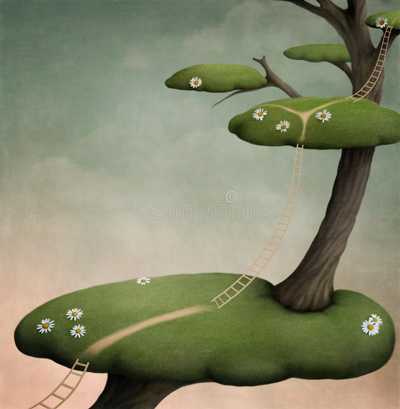 Download Tree With   Green Islands And Ladder Stock Illustration - Image: 19716584