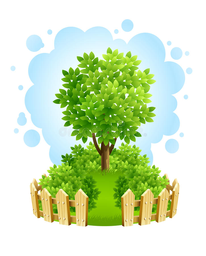 Tree on green lawn with wooden fence vector illustration