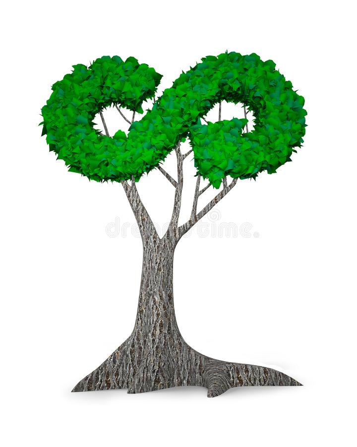 Tree with green leaves in circular eco path, 3D illustration vector illustration