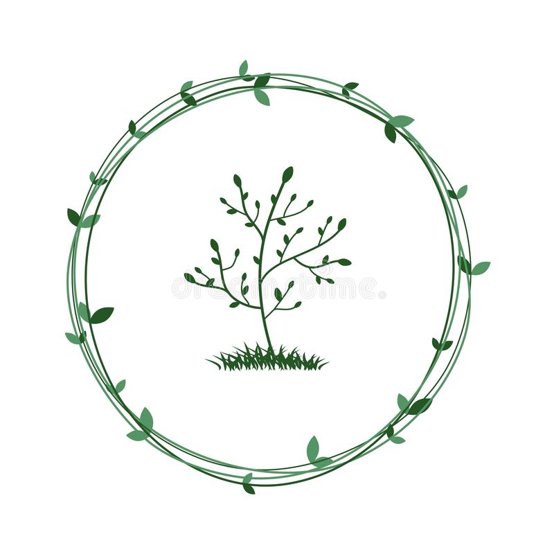 Tree in a green wreath. Ecological symbol of nature conservation. Vector vector illustration