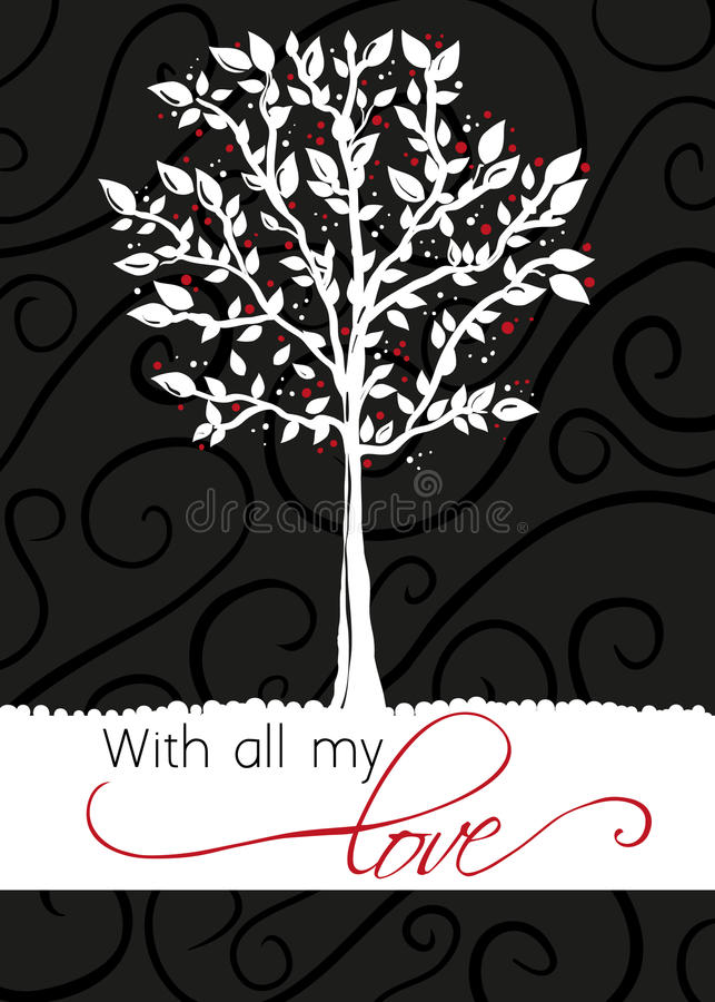 Download Tree - Greeting Card - With All My Love Stock Vector - Image: 17160136