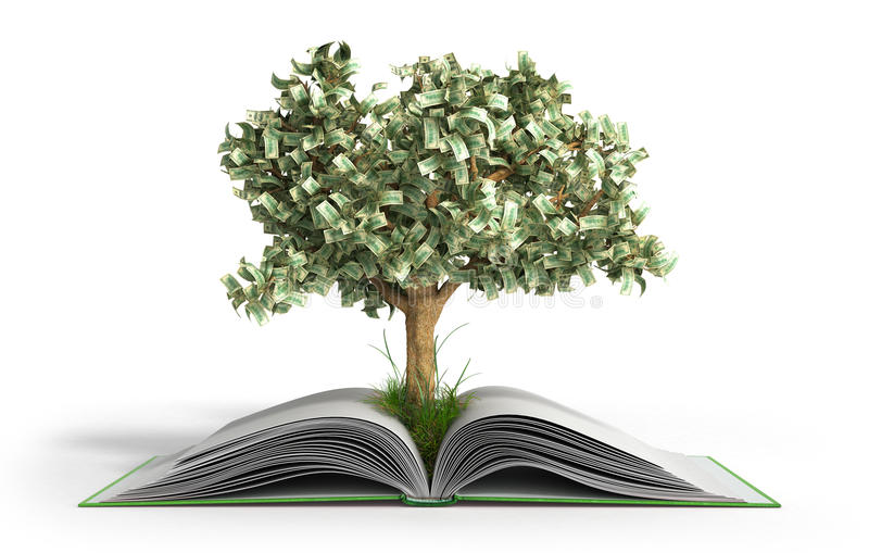 tree growing from book A big open book with coins and tree Reading makes you richer concept 3d render royalty free illustration