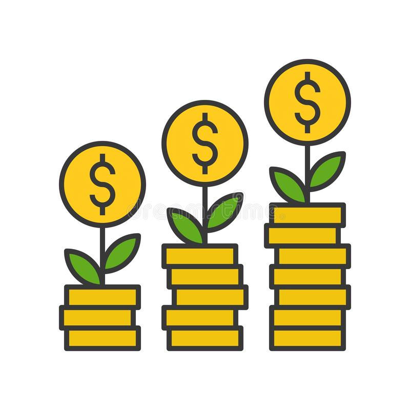 Tree growing on gold coins, investment and financial profit concept, filled outline icon stock illustration