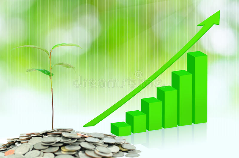 Tree growing on moneys stock images
