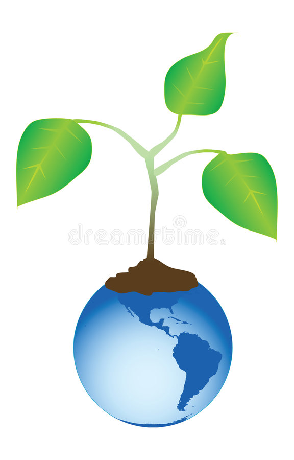 Download Tree growing out earth stock vector. Image of life, planet - 4561477