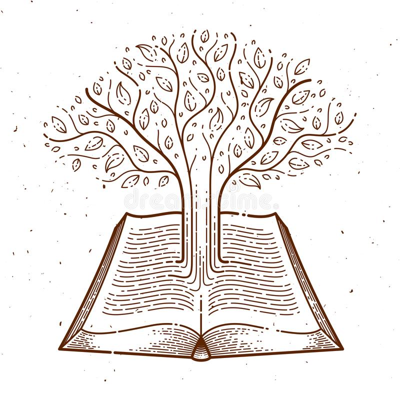 Tree growing from text lines of an open vintage book education or science knowledge concept, educational or scientific literature vector illustration