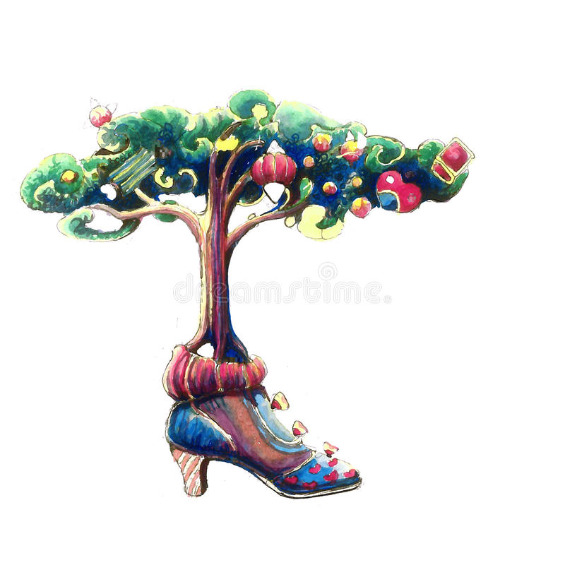 A tree that grows out of a shoe royalty free illustration