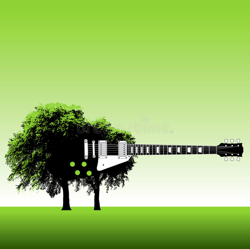 Tree and guitar background royalty free illustration