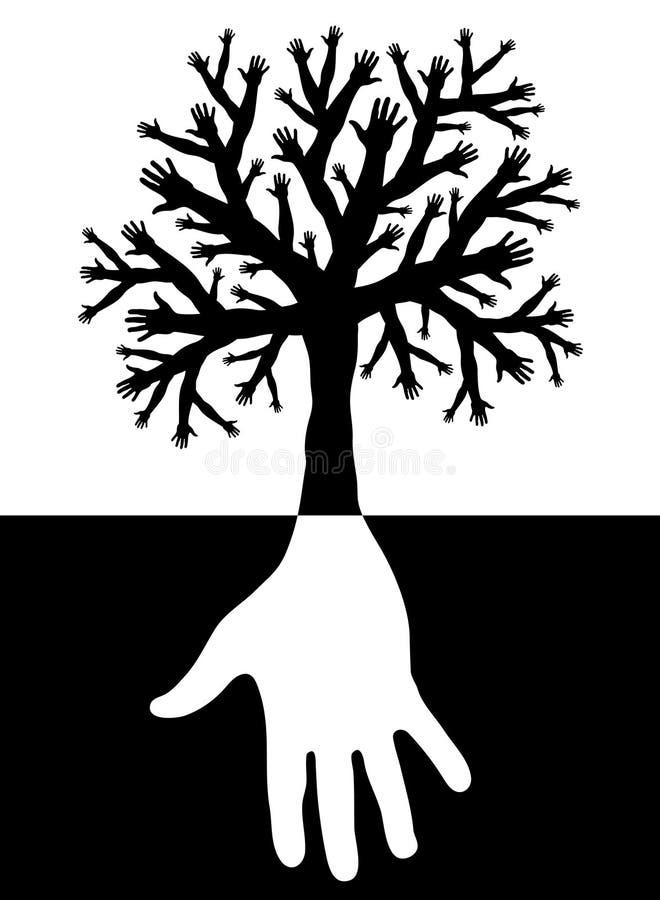 Tree of hands vector illustration