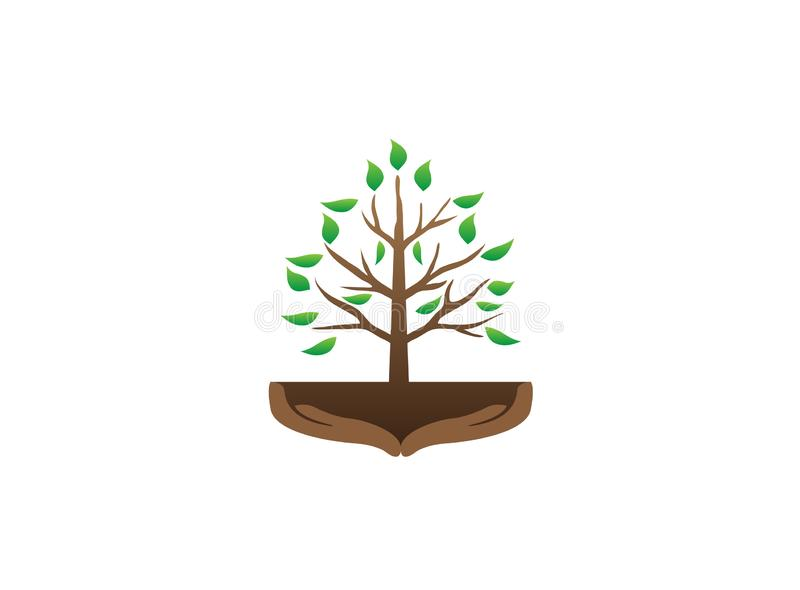 Tree and hands with branches and leaves in the soil for logo design illustration vector royalty free illustration