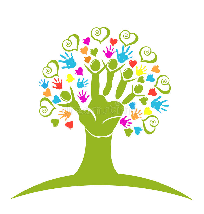 Tree hands and hearts logo royalty free illustration