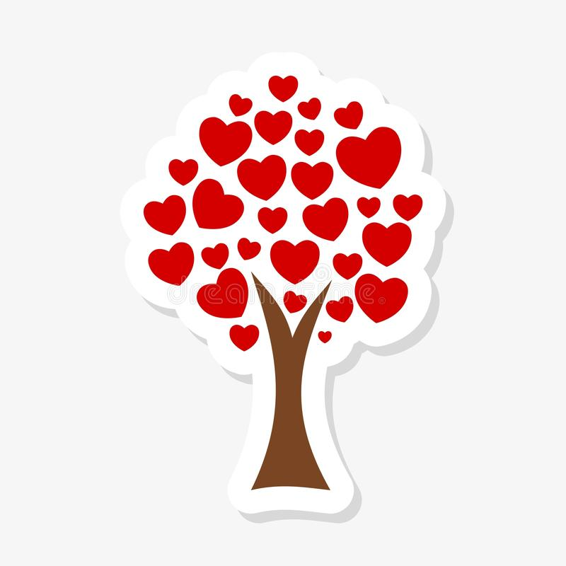 Tree with hanging hearts. Love tree with heart leaves royalty free illustration