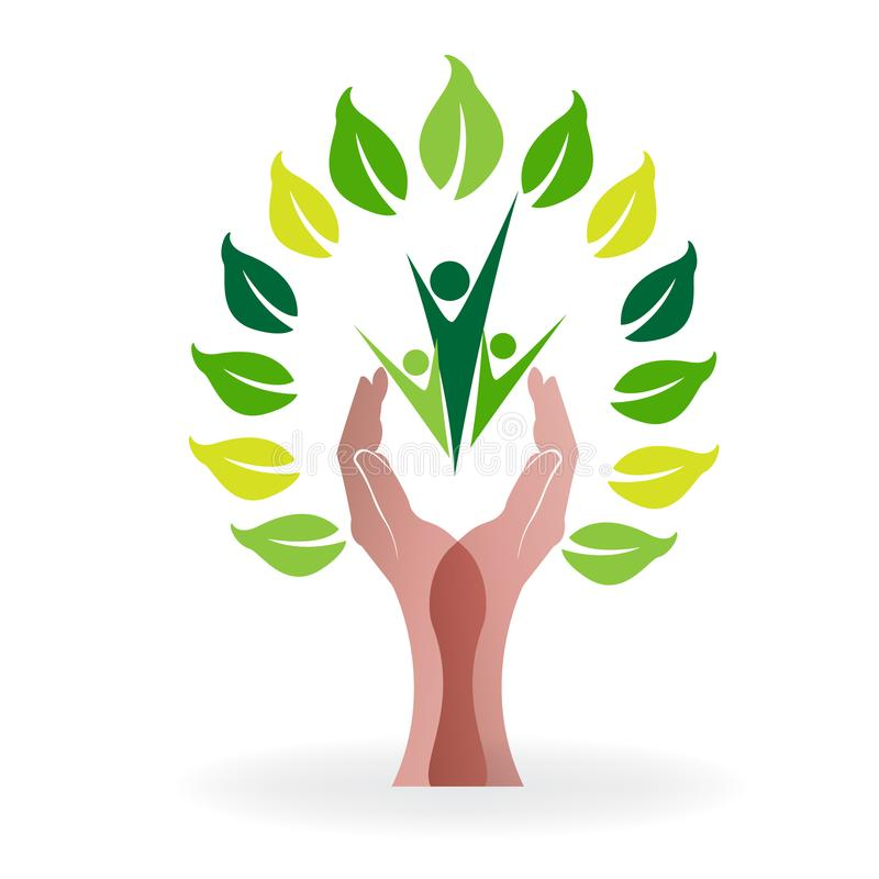Tree nature health with protective hands caring people icon image logo vector vector illustration