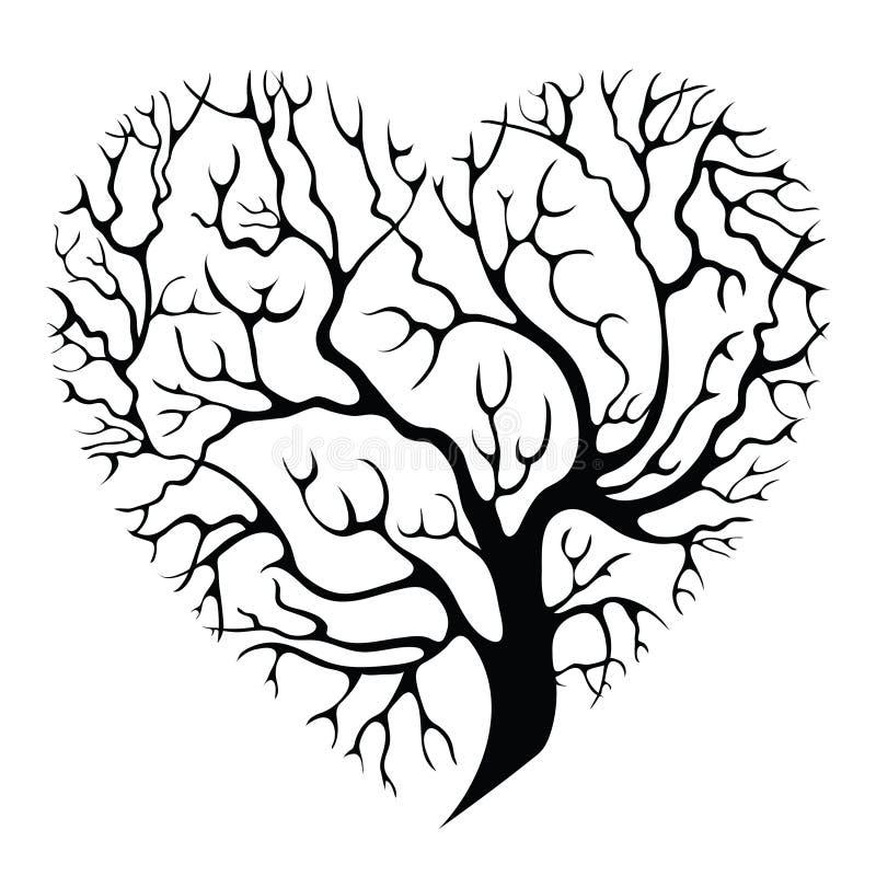 Tree-heart. Elegant heart-shaped isolated tree silhouette royalty free illustration