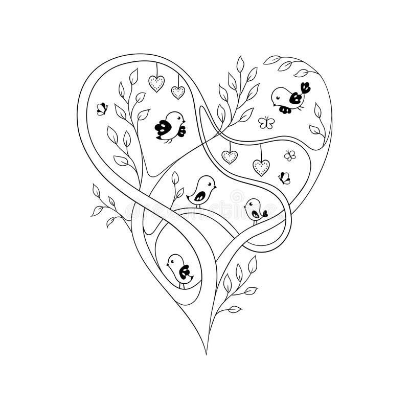 doodle heart coloring page tree doodle stock vector illustration of 4277