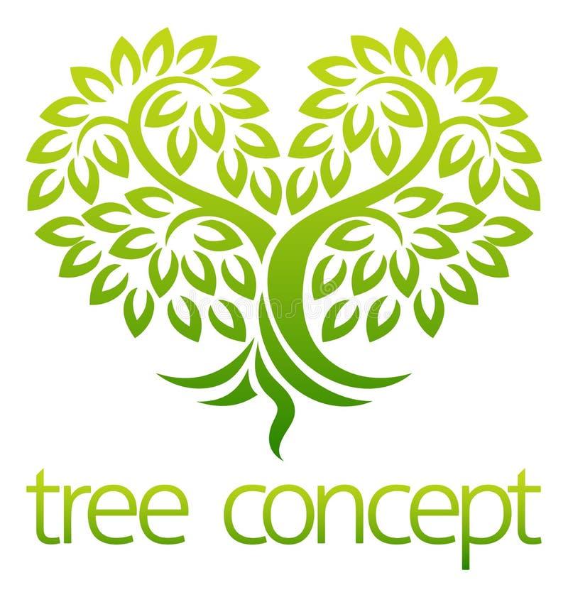 Tree Heart Icon Concept stock illustration