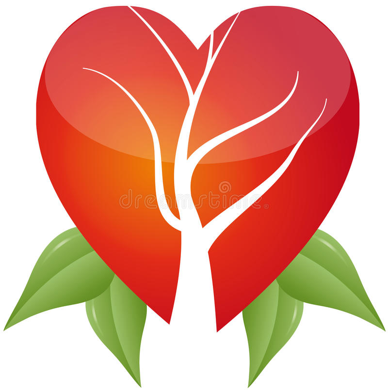 Download Tree in heart with leafs stock vector. Image of draw - 20036180