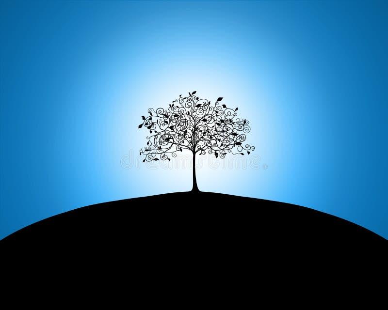 Tree on a hill vector illustration