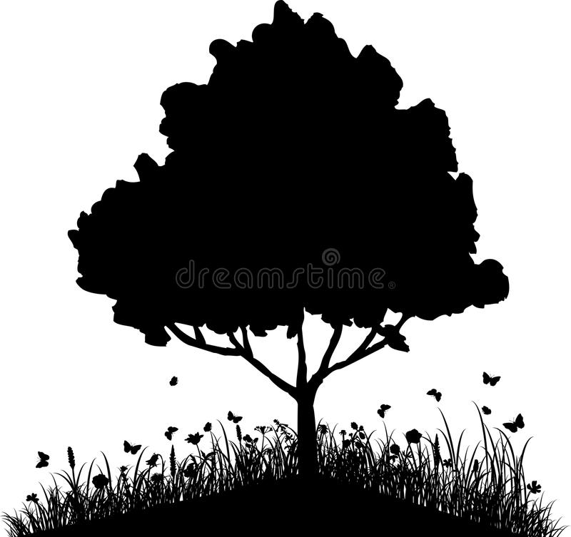 Tree on a hill with grass and butterflies. Silhouette vector illustartion vector illustration