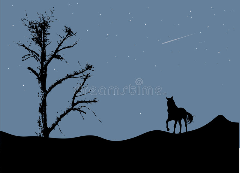 Download Tree And Horse In Moonlight Stock Photos - Image: 8394553