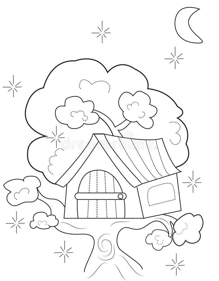 Tree House Coloring Page Stock Illustration - Image: 50165911