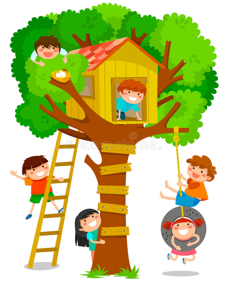 Tree house. Happy children playing in a tree house