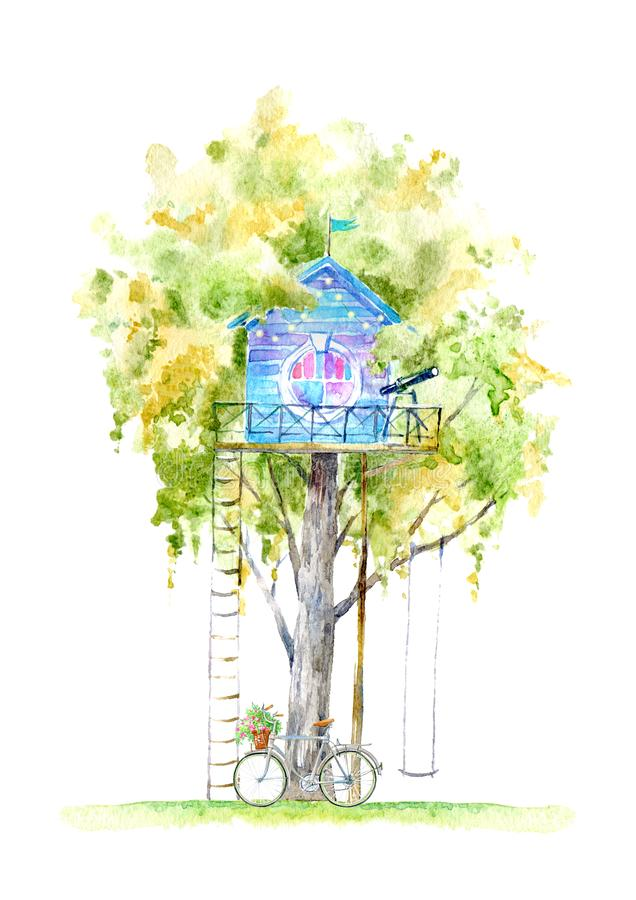 Tree house for kids.Swing, bicycle,deer, and playhouse. stock illustration