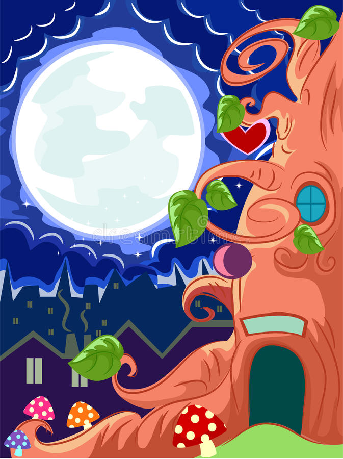 Tree House at Night stock illustration
