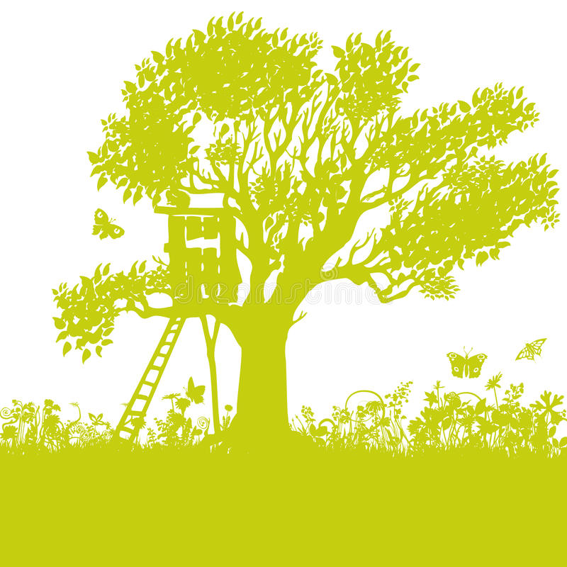 Download Tree house in an old tree stock vector. Illustration of home - 94702059