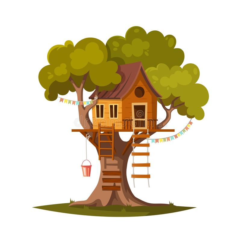 Tree house for kids royalty free illustration