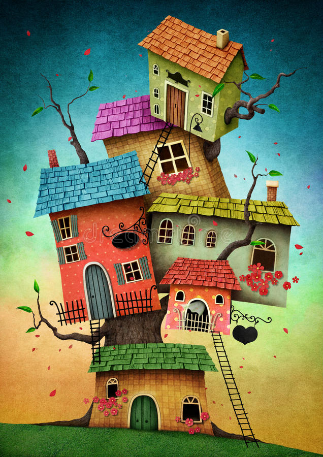 Tree houses stock illustration