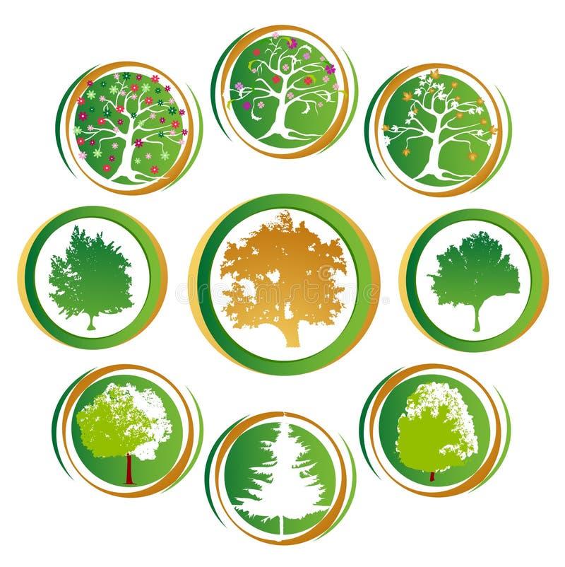 Tree Icon Collection Stock Photos