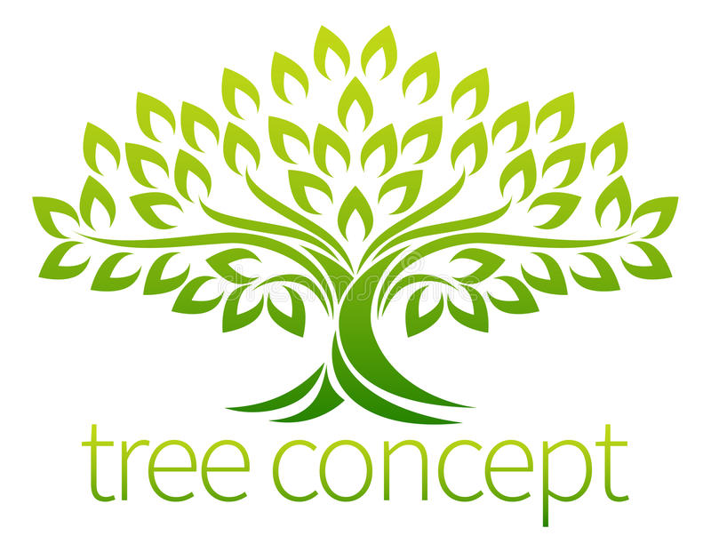 Tree Icon Concept. A stylised tree icon symbol concept illustration